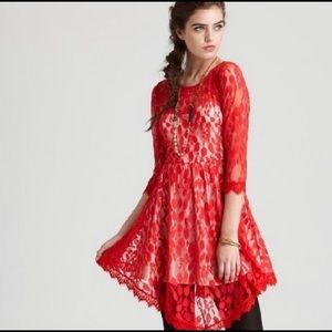 Free People Dresses - Free People Hot Red Lace Dress